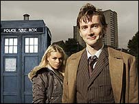 Billie Piper and David Tennant as the Doctor and Rose