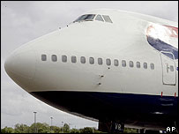 Nose of BA jumbo jet
