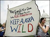 Protest against drilling for oil in Alaska's Arctic National Wildlife Refuge
