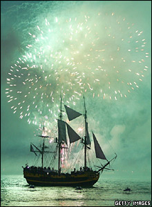 Fireworks light up the sky during a re-enactment of the Battle of Trafalgar