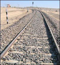 Rail track leading up to the zero line