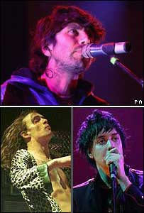 The Super Furry Animals (t), The Darkness(l) and The Strokes (r)