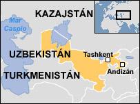 Mapa de Uzbekistán