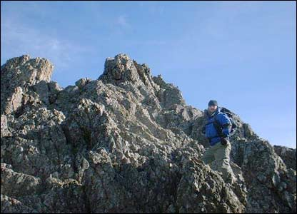 Ian Coe of Abergavenny sent in this picture of his friend Matthew Bridgewater on the north face of Crib Goch