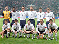 England's football team line up before their recent win over Argentina
