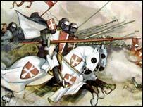 Crusaders on horseback