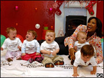 Denise Lewis with Olympic babies