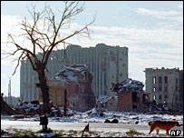 Ruined buildings in Chechen capital Grozny