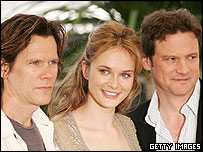 Firth [R] stars in the film with Kevin Bacon and Rachel Blanchard