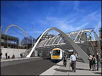 Artists drawing of the station platform and footbridge connecting the new Wembley national stadium to the town centre