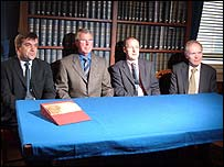 Frank Harkness (second left) with George MacKenzie, Keeper of the Records of Scotland (second right), and  Tom Gregan and Dr David Thomas from the National Archives (Picture by Alison Lindsay)