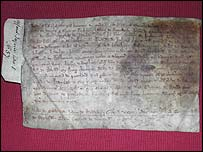 Historic document (picture by Donald Campbell)