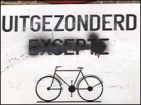 Defaced sign in Belgium. File photo