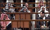 Saddam Hussein and his co-defendants on trial in Baghdad