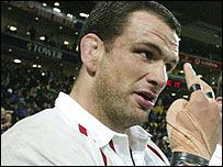 Martin Johnson makes a point after England's victory in Wellington