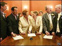 The first three gay couples to have civil partnership ceremonies in Brighton