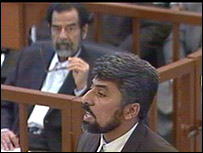 A witness, called Hassan, at the trial of Saddam Hussein