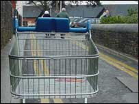 A stray trolley near Tesco in Carmarthen