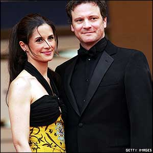 Colin Firth with wide Livia Giuggioli