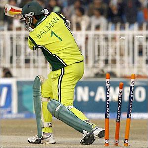 Salman Butt loses his wicket to Steve Harmison