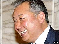Kyrgyz President Kurmanbek Bakiev in Bishkek 02 November 2005.