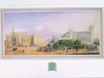 Charles Kennedy's card, depicting Parliament Square in the 19th Century