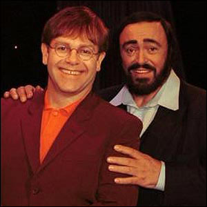 Sir Elton John and Luciano Pavarotti in 1996