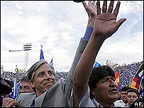 �lvaro Garc�a (izq.) con Evo Morales.