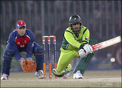 Mohammad Yousuf prepares to play a Udal delivery