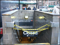 Entrances to subways are closed. Picture sent in by Anna MacLachlan