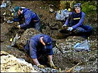 Forensic experts at work in Kosovo