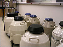 Tanks containing frozen egg and sperm samples