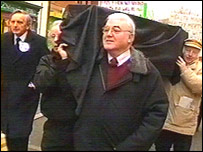 Ffos-y-Fran opponents on a protest march with a 'coffin'