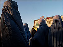 Afghan women wearing burqas