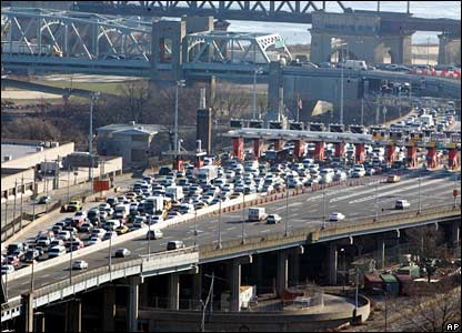 Manhattan-bound traffic on the Triborough Bridge is at a standstill