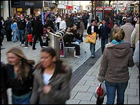 Christmas shoppers in Cardiff city centre