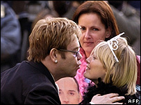 Sir Elton John, Philippa Marshall and Lisa Dale