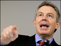 Tony Blair at his December press conference in Downing Street