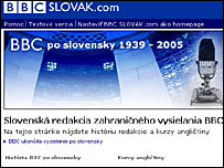 Screen grab of BBC Slovak service website