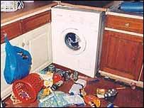 Rubbish strewn around the kitchen