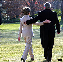 George and Laura Bush at the White House