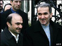 Javad Vaidi (L), head of the Iranian delegation, and Iran's chief delegate to the IAEA Mohammed Mehdi Akhounzadeh