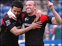 Gareth Thomas (right) with Toulouse team-mate Clement Poitrenaud