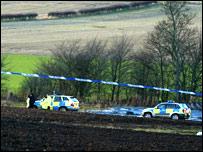 Police cordon near to crash scene