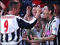 Geoff Horsfield (left) celebrates his goal for West Brom