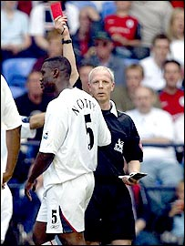 N'Gotty is sent off by Neale Barry