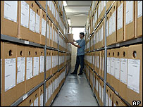 Worker organises secret documents from Brazil's military dictatorship at the National Library Archive in Brasilia
