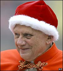 Pope Benedict XVI in a fur-lined red velvet hat