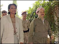 Condoleezza Rice arrives for talks with a Kurdish leader in Irbil, northern Iraq