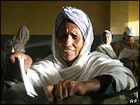 Woman casting her vote in Ethiopia